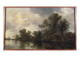 A Wooded River Landscape, with Peasants in a Rowing Boat by a Cottage and a Ferry Giclee Print by Jan Josephsz. Van Goyen