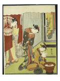 Figures in an Interior, a Courtesan Looking at Her Shinzo Who Is Reading a Love Letter Giclee Print by Suzuki Harunobu