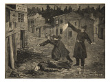 A Street in Whitechapel: the Last Crime of Jack the Ripper, from 'Le Petit Parisien', 1891 Giclee Print by Beltrand and Clair-Guyot, E. Dete