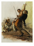 As the Malay Pirate Lunged Forward to Kill His Defenceless Prisoners, Trelawny Leaped at Him Giclee Print by Neville Dear