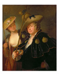 Gustav Adolf Graf Von Gotter and His Niece Friederike Von Wangenheum in Pilgrim Costumes, C.1750 Giclee Print by  Pesne