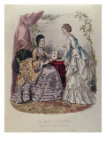 Fashion Plate Showing Ladies in Dresses Designed by Mme Breant-Castel and Looking at Photo Albums Giclee Print by  French School