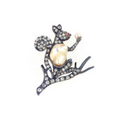 An Antique Baroque Cultured Pearl, Old European-Cut Diamond and Ruby Brooch Designed as a Squirrel Giclee Print by  European School