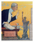 Publicity Calendar for the Cigarette Paper Manufacturer 'Rizla', Depicting President Woodrow Wilson Premium Giclee Print by  French School