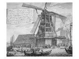 Fighting a Fire in a Windmill Near Worden, from a Book on Firefighting in Holland, Published C.1700 Giclee Print by  Dutch School