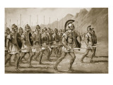 A Macedonian Phalanx, Illustration from 'Hutchinson's History of the Nations', 1915 Premium Giclee Print by  Rowlandson