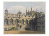 Exterior of Oriel College, Illustration from the 'History of Oxford', Engraved by F.C. Lewis Giclee Print by Frederick Nash