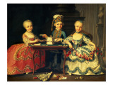 Group Portrait of a Boy and Two Girls Building a House of Cards with Other Games by the Table Giclee Print by Francois Hubert Drouais