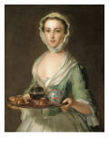 Portrait of a Young Woman, Possibly Hannah, the Artist's Maid, Holding a Tea Tray Giclee Print by  Mercier
