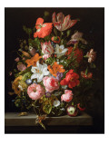 Still Life of Roses, Lilies, Tulips and Other Flowers in a Glass Vase with a Brindled Beauty Impressão giclée premium por Rachel Ruysch