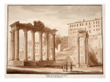 The Temple of Fortune, known as the Temple of Concord and the Temple of Jupiter Tonans, 1833 Giclee Print by Agostino Tofanelli