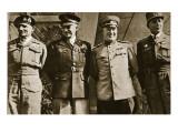 Field Marshal Montgomery, General Eisenhower, Marshal Zhukov, and General De Lattre De Tassigny Giclee Print