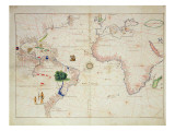 The New World, from an Atlas of the World in 33 Maps, Venice, 1st September 1553 Reproduction proc&#233;d&#233; gicl&#233;e par Battista Agnese