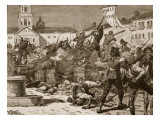 Street Fighting in Malaga, 1869, Illustration from 'Cassell's Illustrated History of England' Giclee Print by William Barnes Wollen