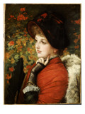 Type of Beauty: Portrait of Mrs. Kathleen Newton in a Red Dress and Black Bonnet, 1880 Giclee Print by James Tissot