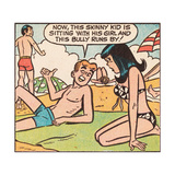 Archie Comics Retro: Archie and Veronica Comic Panel; Beach (Aged) Print