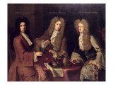 Evelyn, 1st Duke of Kingston, Charles, Earl of Burlington and John, Lord Berkeley of Stratton Giclee Print by Godfrey Kneller