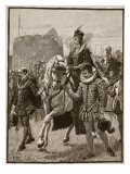 Queen Elizabeth at Tilbury, Illustration from 'Cassell's Illustrated History of England' Giclee Print by  English School