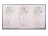 Panel of Three Stylised Rose Motifs in Green and Cream, for One Back of a Corner Settle Giclee Print by Charles Rennie Mackintosh