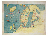 Northern Europe, from an Atlas of the World in 33 Maps, Venice, 1st September 1553 Premium Giclee Print by Battista Agnese