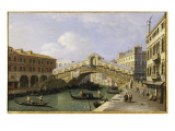 The Rialto Bridge Venice from the South with the Fondamenta Del Vin and the Fondaco Dei Tedeschi Giclee Print by  Canaletto