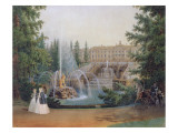 View of the Marly Cascade from the Lower Garden of the Peterhof Palace, C.1830-60 Giclee Print by Vasili Semenovich Sadovnikov