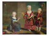 A Group Portrait of a Girl with a Marmoset in a Box, a Girl with a Triangle Sitting Giclee Print by Francois Hubert Drouais