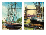 A Tall Ship in the Lower Reaches of the Thames and a Steam-Driven Cargo Ship Near Tower Bridge Giclee Print by John S. Smith