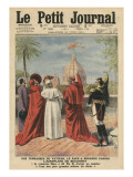 Pope Pius X Watching the Airplane of Andre Beaumont Flying over Rome from the Vatican Terrace Giclee Print by  French School