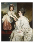Portrait of Mrs. Sarah Otway, in White Costume with Her Daughter Jane before a Window Reproduction procédé giclée par Sir Joshua Reynolds