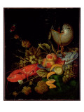 Still Life of Fruit, Lobster and a Nautilus Cup Giclee Print by Ottmar the Elder Elliger