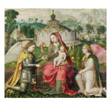 Virgin and Child with the Archangels Michael, Gabriel and Raphael Giclee Print by Lucas De Heere