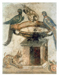 Birds and an Ambushing Cat, from Pompeii, 1st Century Ad Reproduction procédé giclée
