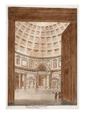 Interior of the Pantheon after the Tiber Broke its Banks, 1833 Giclee Print by Agostino Tofanelli