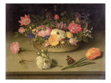 A Still Life of Flowers, a Dragonfly and a Red Admiral, 1614 Giclee Print by Ambrosius The Elder Bosschaert