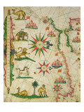 The North African Coast, from a Nautical Atlas, 1651 Giclee Print by Pietro Giovanni Prunes