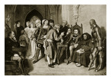 James Iv in Council before the Battle of Flodden, 1513 Premium Giclee Print by John Faed