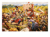 Mongol Soldiers Breaking Through the Great Wall of China Giclee Print by C.l. Doughty