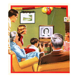 Queen Elizabeth Ii's First Christmas Tv Broadcast Giclee Print by John Keay