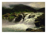Norwegian Waterfall, at Lofor in Valders, 1905 Giclée-Druck von Karl Von Eckenbrecher