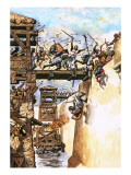 English Soldiers Attacking a City During the Crusades Giclee Print by  English School