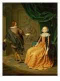 A Lady in an Orange Dress with Cavalier Taking His Leave Reproduction proc&#233;d&#233; gicl&#233;e par Gerard Wigmana