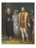 Hernan Cortes, La Malinche and Bartolome De Las Casas Premium Giclee Print by Juan Ortega