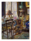 The Studio of Comte Deheaulme De Vallombreuse, 36 Rue Jouffrey, Paris 1888 Giclee Print by Akseli Valdemar Gallen-kallela