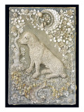 One of a Pair of Louis Xv Seated Dogs Modelled in Relief, Within a Grotto-Like Surround Giclee Print by  German School