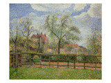 Pear Trees and Flowers at Eragny, Morning, 1886 Giclee Print by Camille Pissarro