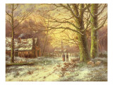 Figures on a Path before a Village in Winter Giclee Print by Hermanus Koekkoek
