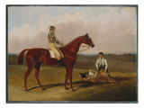 Barefoot', the Racehorse, with a Jockey Up and a Groom, 1835 Giclee Print by John Frederick Herring Snr