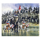 King Porus' Army Facing Alexander the Great in the Torrential Rain Giclee Print by Ron Embleton