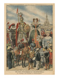 A Picturesque and Traditional Feast, the Procession of the Giants at Valenciennes Giclee Print by  French School